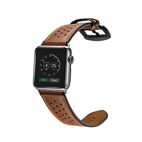 samLIKE Echtleder Armband für Apple Watch 38mm/40mm Series 1/Series 2/Series 3/Series 4 Atmungsaktiv Perforiertes Leder Ersatzarmband für Herren und Damen, 160-215MM, 5 Farben (Braun) - Sport 2.0 Perforiertes Leder
