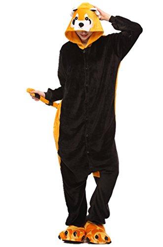 URVIP Unisex Festliche Anzug Flanell Pyjamas Trickfilm Jumpsuit Tier Cartoon Fasching Halloween Kostüm Sleepsuit Party Cosplay Pyjama Schlafanzug Waschbär ()