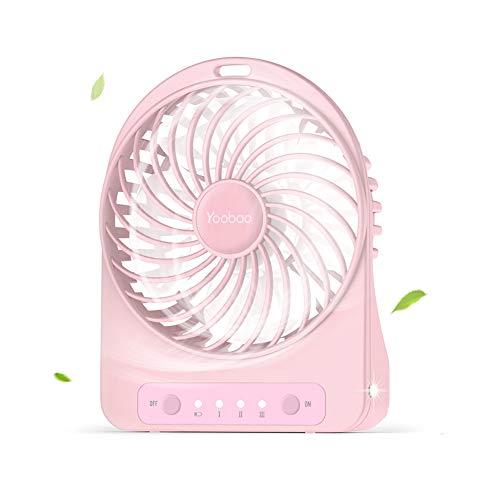 or, USB Ventilator Klein Lüfter mit 3 Einstellbare Geschwindigkeiten, 3300mAh aufladbarer Batterie, LED Licht für Zuhause, Reisen, Picknick und Outdoor-Aktivitäten (Pink) ()