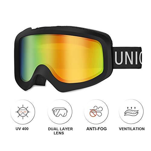 Unigear Maschere da Sci, Maschere da Snowboard OTG Produzione UV411 Doppie Lenti Casco Antiappannamento Occhiali da Neve Antivento Compatibili per Donna Uomo Junior