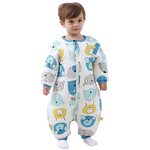 Saco de dormir para bebé con patas, con forro de invierno cálido, manga larga, saco de dormir de invierno con soporte 3,5 tog azul azul Talla:L/Körpergröße 80cm-90cm