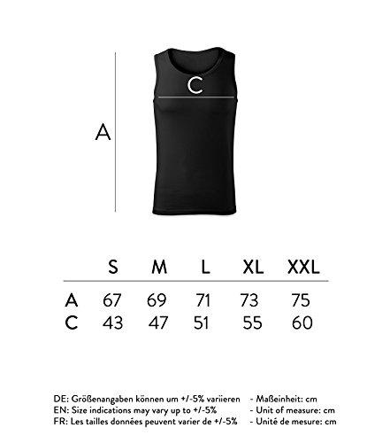 Herren Top keep calm and do curls Unterhemd Shirt - schwarz & weiß mit Motiv - Tank Muskelshirt T-Shirt bedruckt Poloshirt mit Motiv - Neu S - XXL Schwarz