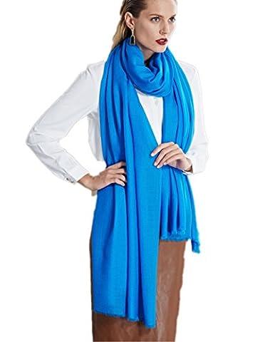 Prettystern - extra großer Schal Pashmina XXL Tuch 100 Garn 100% Wolle besonders fein & weich - blau