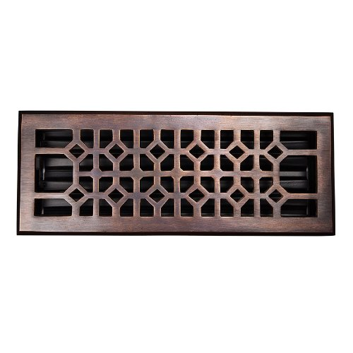 The Copper Factory CF141AN Solid Cast Copper Decorative 4-Inch by 12-Inch Floor Register with Damper, Antique Copper by The Copper Factory