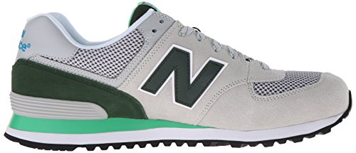New Balance 574  Lifestyle Suede/Textile, Gymnastique homme Gris - Grigio (Grey/Green)