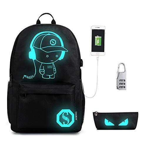 Ragazze di moda ragazze zaino, Teezoo Outdoor Anime zaino luminoso zaino Daypack borsa scuola porta sacchetti di scuola per bambini Borsa a tracolla scuola Laptop Bag with USB Charger Nero