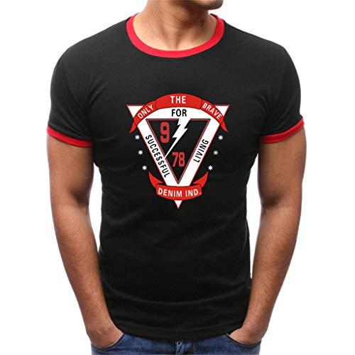 Eaylis Herren T-Shirts Kurzarm Sommermode Rundhals Einfarbig Dreieck Drucken Komfortable Baumwolle Kurzarm-Shirt