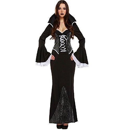 Damen Vampir Kostüm Vampirin Morticia Halloween Verkleidung Party -
