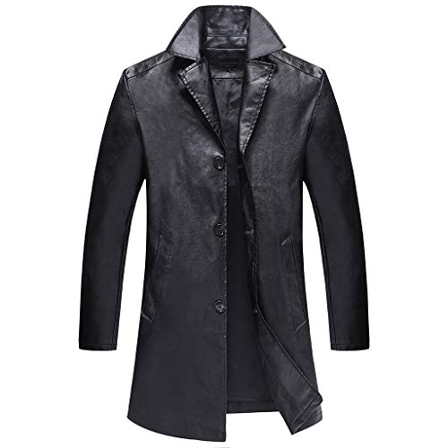 Sunnywill Herren Herbst Outwear Sweatjacke Pullover Sweatshirt Kapuzenpullover Winterjacke Übergangjacken große mittlere und Lange Ledermäntel bequemen warmen Mantel