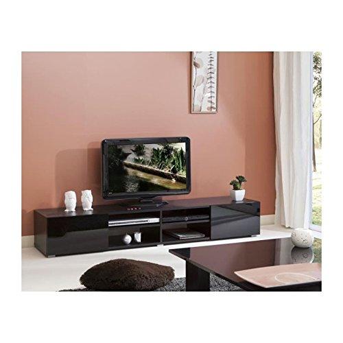 LIME Meuble TV 185cm portes laquées noires