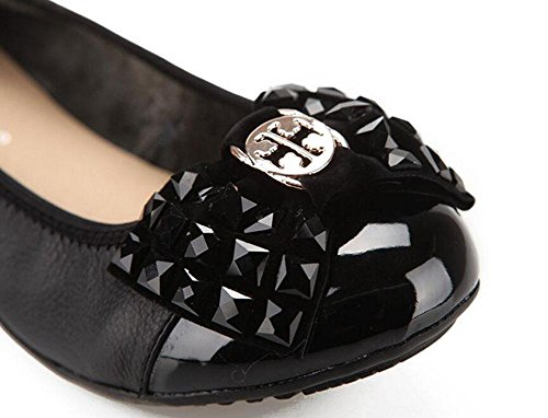 Donne Scarpe Loafer Bow Tie Mary Jane Scarpe Singole Pelle Scarpe Scarpe Madre Scarpe Confortevoli Scarpe Fondo Morbido Black