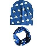 Ularma Baumwolle Sterne Mütze Schal Set für Baby Mädchen Junge Herbst Winter Warm (Blau)