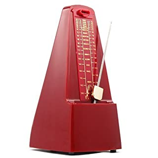 Accessotech Red Elegant Pyramid Metronome Tempo for Musicians Piano Guitar Wind-Up Clockwork