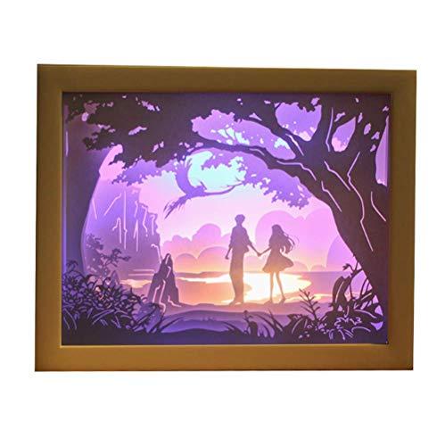 Quadrat Papier Schatten (FFyy DIY Licht und Schatten Papier schnitzen Lampe dekorative Lampe schnitzen Lichter Romantik handgemachte kreative Nachtlichter)