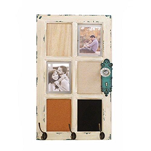 3er Hakenleiste Garderobe + Memoboard + Bilderrahmen - shabby Holz weiß - Antik. Von Haus der Herzen®