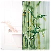 Relaxdays Cortina de ducha diseño bambú, poliéster, textil, lavable, planta, material, 200 x 180 cm, cortina de bañera, verde