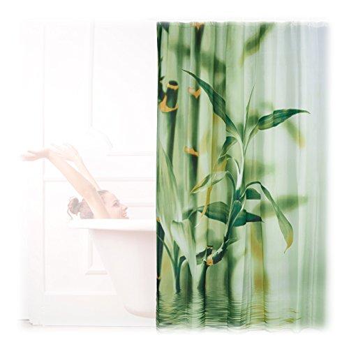 Relaxdays Bambus Design Duschvorhang, Stoff, grün, 4 x 180 x 200 cm