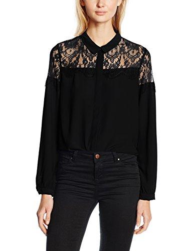 VERO MODA VMHELENA L/S LACE SHIRT, Camicia Donna, Nero (Black), 36 (Taglia Produttore: Small)
