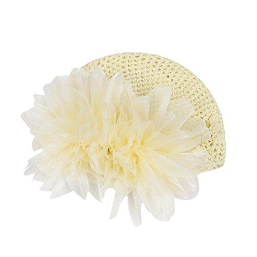 LuckyGirls Wolle Mütze Strick Blume Kleinkinder Baby Mädchen Haarband Stirnband Headwear Hut (Beige)