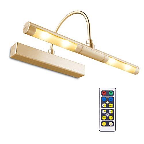 BIGLIGHT kabellose batteriebetriebene superhelle LED Bilderleuchte mit Fernbedienung, schwenkbare Lichterköpfe mit 3 Leuchtmodi, dimmbare Lampe für Malen/Foto/Portrait/Kunst/Bilderrahmen, Gold