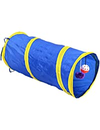 BQLZR Blue Kicode with Ring Bell Toy Pet Tunnel Foldable Collapsible Colorful 55Cm Fu