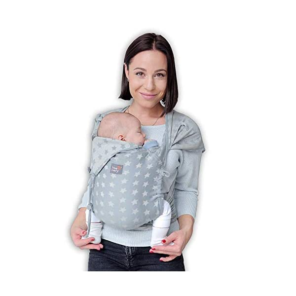 Love & Carry® Love Tie/Mei Tai Baby Carrier Ergonomic Newborn Belt Grigio Star Love and Carry® Love Tie Baby Carrier is ergonomic and extremely comfortable (both for parent and baby). Ergonomic M position for healthy hip and spine development It is practical, immediate and extremely intuitive in use, Love Tie is one size fits all and with easily adjustable shoulder straps. Love Tie Love and Carry is a good baby carrier for use already with babies, and is packaged in durable cotton fabric and perfectly holds the growing weight of the baby (up to 15-18 Kg). 1