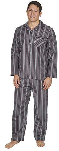 Herren gebürstet Pure 100% Baumwollschlafanzug Winter warme Flanell Thermo M L XL XXL Graue Streifen, XL