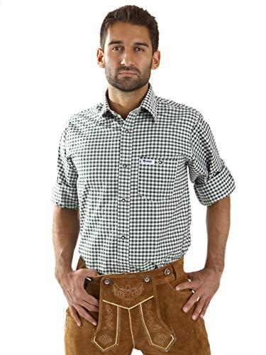 ALMBOCK Trachtenhemd Herren kariert | Slim-fit Männer Hemd dunkel-grün kariert | Karo Hemd aus 100% Baumwolle in den Größen S-XXXL -