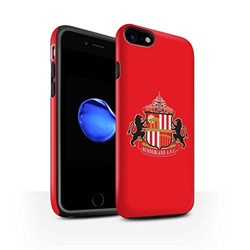 Offiziell Sunderland AFC Hülle / Matte Harten Stoßfest Case für Apple iPhone 8 / Rot Muster / SAFC Fußball Crest Kollektion Rot