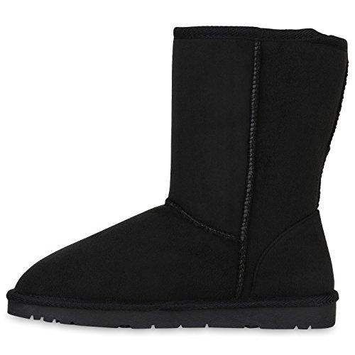Stivali Paradise Slip Donna Slip Caldi Stivali Foderati Ankle Boots Eco-pelliccia Stivali Glitter Scarpe Strass Rivetti Profilo Floreale Suola Flandell Nero Brooklyn