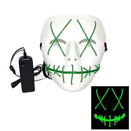 Rokoo Mode Halloween Cosplay Ghost Maske Slit Mund leuchten glühende EL Wire Nette Masken für Kostüm (Maske Der Kostüm Purge)