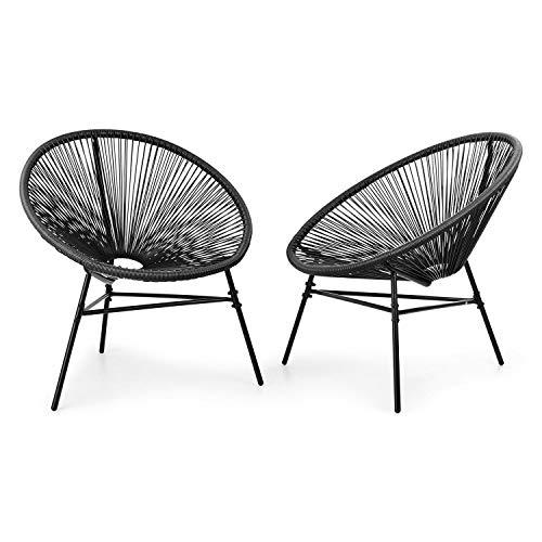 blumfeldt Las Brisas Chairs Gartenstühle - 2er-Set, Retro-Design, Bespannung aus 4mm-Geflecht, Material Gestell: pulverbeschichteter Stahl, witterungsbeständig, schwarz