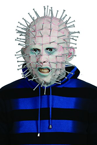 rren Cosplay Helm Deluxe Weiß Latex Vollkopfmaske Kostüm Zubehör für Erwachsene Karneval Party (Herren Pinhead Kostüm)
