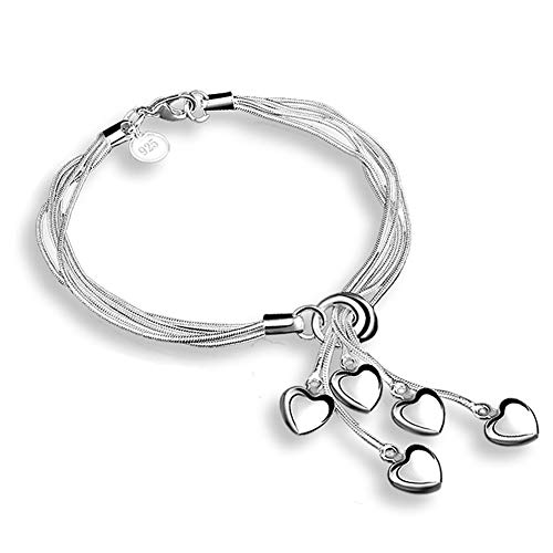 Naisicatar Fashion Damen Armband 925 Sterling Silber Silber Five-Line Kette mit Herz Armband Armschmuck