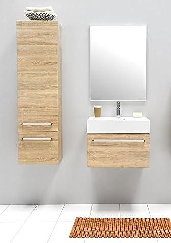 Badmöbel-Set mit Waschbecken Spiegel Unterschrank Hochschrank Keramik Waschtisch Waschbeckenunterschrank 60