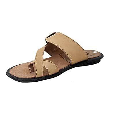 Athlego Men's Tan Leather Flip-Flops - 10 UK