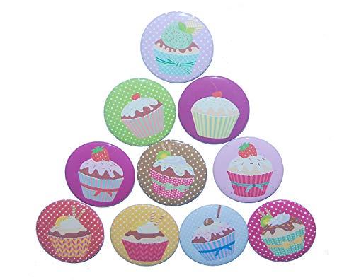 Magnetset Magnet Set Kühlschrankmagnet Größe: 50mm rund 10 Stück Motiv: Cupcake Muffin Kuchen
