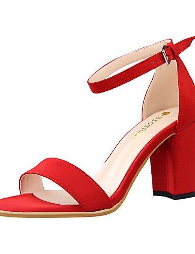 WSS 2016 Chaussures Femme-Habillé-Noir / Rose / Rouge / Gris / Amande-Gros Talon-Talons / Bout Ouvert / Bout Arrondi-Talons-Daim almond-us6 / eu36 / uk4 / cn36