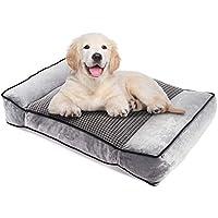 Pecute Camas para Perros Ortopédica Colchón Perro Colchoneta para Mascotas Usar en Ambos Lados Cojines para Perreras Casetas para Perros Grandes Lavable Suave Desenfundable (M, Gris)