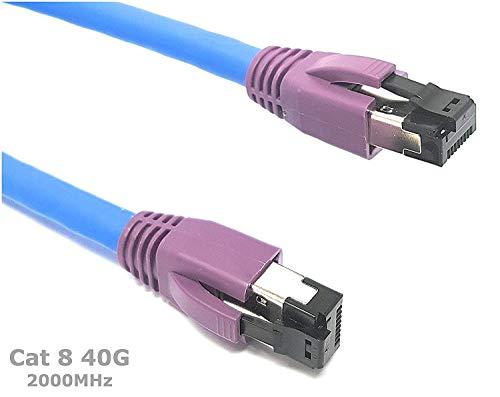 Cat. 8 – Ethernet Kabel 2000 MHz 40 g | kompatibel mit Cat. 5/CAT. 5e/CAT. 6/Cat6 A/Cat. 7/Cat. 7 A/Cat. 7 A + | Switch/Router/Modem/Patch Panel/Access Point/Patchfelder/High Speed Netzwerke (0.50M)