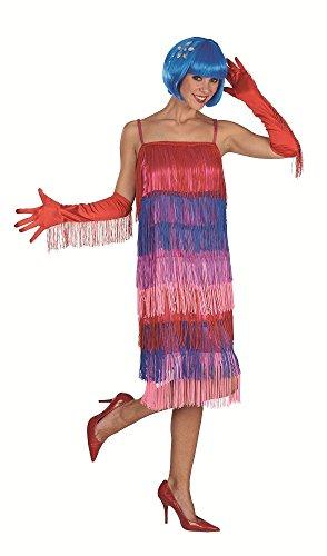 e - Buntes Charleston Fransen Kostümkleid im Stil der 20er Jahre - Gr. 44 46 (Gatsby Girl Flapper Kostüm)