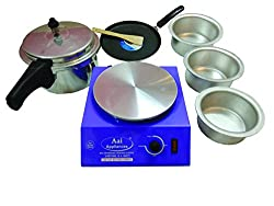 AAI Indian Electric Cooking Stove with Pressure Cooker (5 liters), 3 Aluminium Pots, 1 Non Stick Tawa