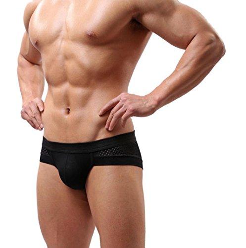 Beikoard Sexy Dessous, Männer Sexy Baumwolle Unterwäsche Shorts Männer Boxer Unterhosen Soft Briefs Männer Unterwäsche (L, Schwarz) (Unterwäsche Nichts Boxer Brief)