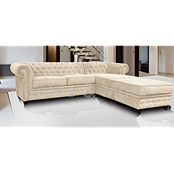 Chesterfield Style Corner Sofa Set 3+2 Seater Armchair Cream Fabric (Right  Hand Corner With Footstool)