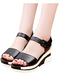 BUIMIN Sandalias Mujer Plataforma de Verano, Zapatos Bajos Hebilla, Para Playa, Cuñas, Peep Toe, Color Negro/Blanco, Talla35/36/37/38/39/40