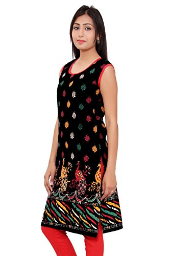 Kurti Studio Black Unstitched Cotton Kurti Fabric