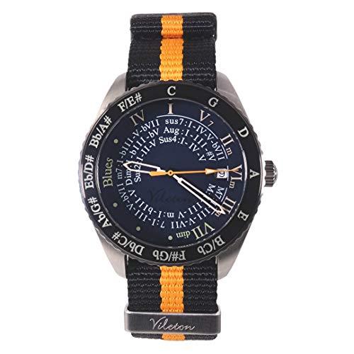 Musiker Uhr, schwarz & Orange NATO Armband, Musiknoten. Musikalische Ausbildung/Solfege.