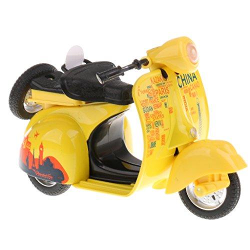 MagiDeal 1:14 Süß Mini Zurückziehen Motorrad Pull Back Diecast Motorrad Modell mit Licht und Ton Kinder Spielzeug - Gelb (Zwei-ton-lamm)