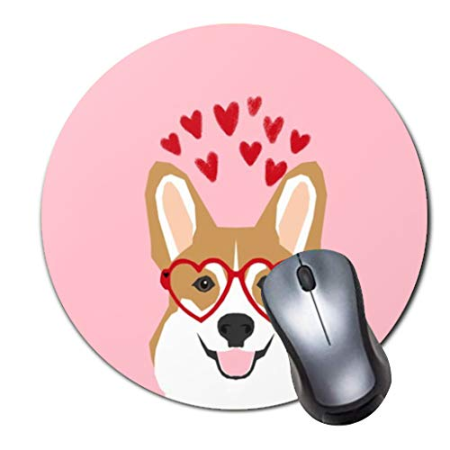 Mouse Pad,Small Non-Slip Rubber Base Mousepad with Updated Stitched Edge,Girls Office Mouse Pad Desktop Accessories,Round Mouse Mat corgi welsh corgi cute love hearts dog valentines day