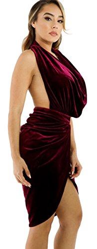 La Vogue Robe Midi Cache Cœur Drapé Sans Manche Col V Dos Nu Décolleté Moulant Jupe Rouge